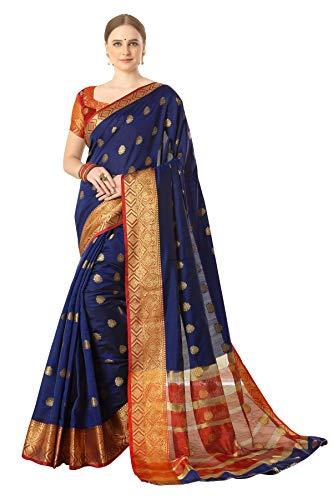 Amazon Brand – Anarva Women's Banarasi Silk Blend Saree with Blouse Piece