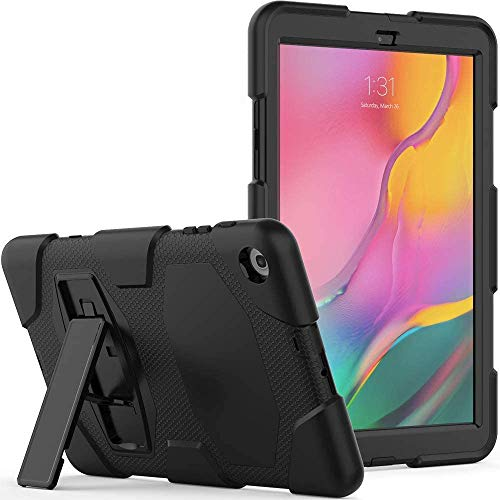 Gerutek Samsung Galaxy Tab A 10.1 2019 Case (SM-T510/T515), Heavy Duty Shockproof Rugged Protective Silicone Case with Kickstand for Samsung Tab a 10.1 inch 2019 Case, Black