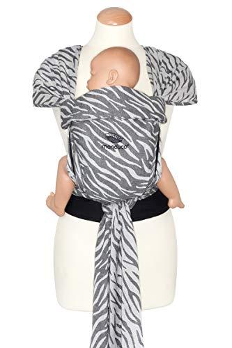 manduca Mochila portabebés Twist  Zebra  Portabebés de algodón orgánico (tejido Jaquard), suave cinturón abdominal con hebilla, correas para abanico y atado (edición limitada/estampado animal)