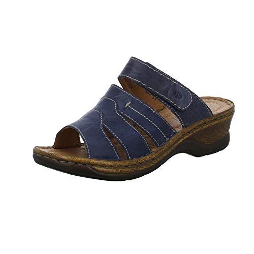 Josef Seibel Damen Pantoletten Catalonia 49,Weite G (Normal),Freizeitschuhe,Lady,Ladies,Women\'s,Woman,Slipper,Slides,Sandalen,blau,38 EU / 5 UK