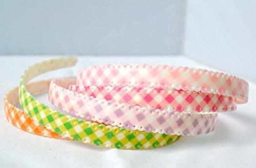 Pack 5 Bandeau fille carreaux 1,2 cm. Expédition gratuite