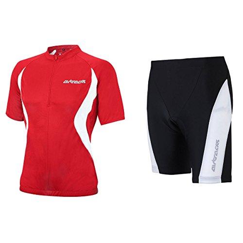 Airtracks Ensemble maillot de cyclisme à manches courtes / short de vélo court Pro T + maillot de cyclisme à manches courtes pour équipe/respirant – Rouge/noir – XXL