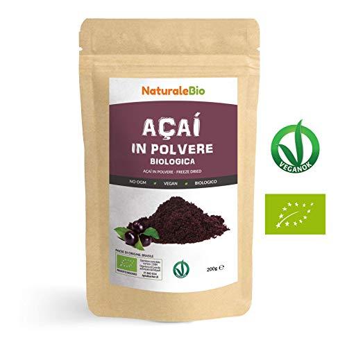 Bacche di Açai Biologiche in Polvere [ Freeze - Dried ] 200 gr. 100% Prodotto in Brasile, Liofilizzato, Crudo ed Estratto dalla Polpa della Bacca di Acai. NaturaleBio