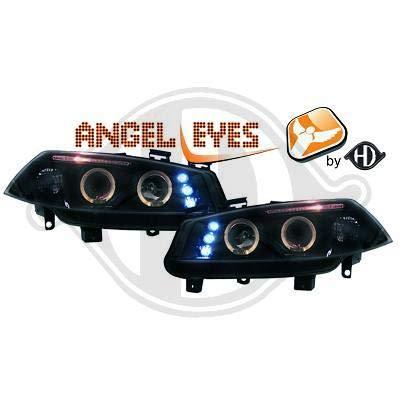 4464680 Angel Eyes koplamp zwart voor Megane 2 van 2002 tot 2005