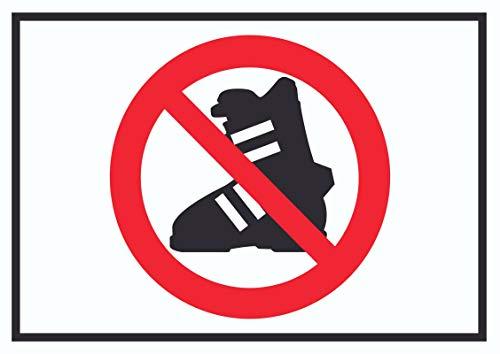 HB-Druck Betreten mit Skischuhen verboten! Symbol Schild A0 (841x1189mm)