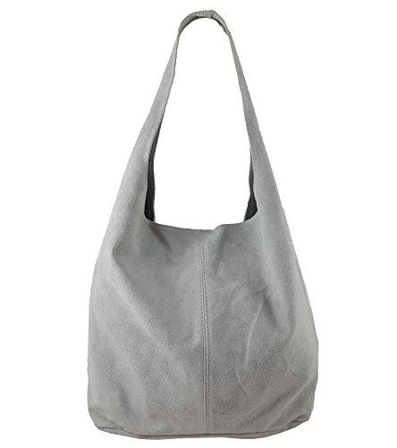 Freyday Damen Ledertasche Shopper Wildleder Handtasche Schultertasche Beuteltasche Metallic look (Grau)