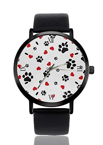Perro huella amor corazón moda personalizada imitación cuarzo reloj de pulsera correa negra...