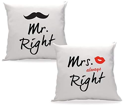 TRVPPY Partner Pärchen Kissen mit Füllung Modell MR. Right & MRS. Always Right 40x40cm Zierkissen Dekokissen