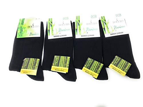 4 pairs Antibacterial 80% Bamboo Socks Breathable, Cycling, Bamboo Crew Socks, Bamboo Yoga Socks (Black, Large)