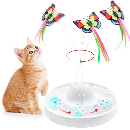 2 in 1 Interactive Cat Toys for Indoor Cats Electronic Rotating Butterfly Toy with Roller Tracks Ball Kitten Toy Automatic Cat Exercise Toys with Replacement Games for Cats Kitten Pet (white)