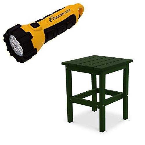 Toucan City LED Flashlight and DUROGREEN Icon Forest Green Recycled Plastic Square Side Table SST1515FG