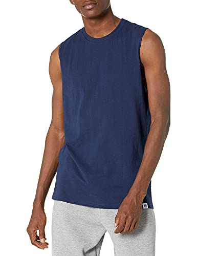 Russell Athletic Men's Cotton Performance Sleeveless Muscle T-shirt,Navy,X-Large