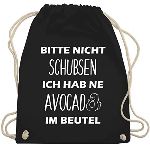 Shirtracer Festival Turnbeutel - Bitte nicht schubsen ich hab ne Avocado im Beutel - Unisize - Schwarz - avocado - WM110 - Turnbeutel und Stoffbeutel aus Baumwolle