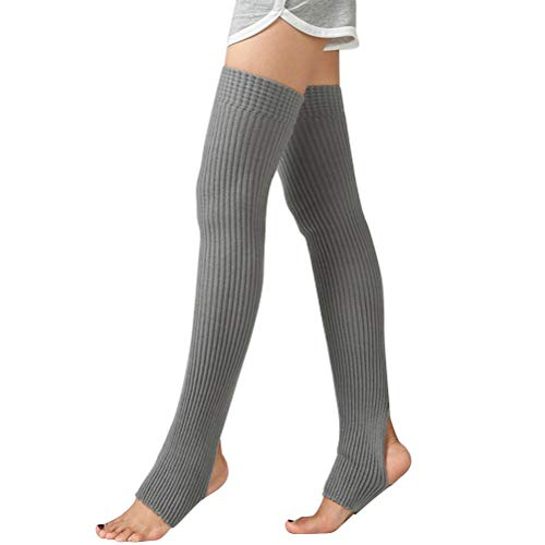 VOSAREA 5 cm 1 par patrón Largo de los niños Adultos Ballet Calcetines de Baile Keen-High Calidez del Yoga Latin Leggings Calcetines Traje (Light Drey)