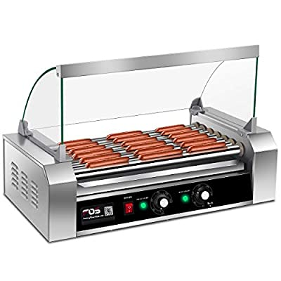 Giantex Commercial 18/30 Hot Dog Hotdog 7/11 Roller Grill Cooker Machine w/Cover