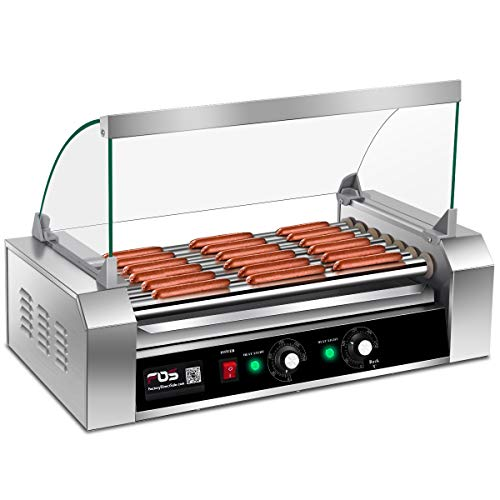 Giantex Hot Dog Roller Machine, 7 Non-stick Rollers 18 Hot Dog Sausage Grill Cooker Machine with Removable Stainless Steel Drip Tray and Glass Hood Cover, Commercial Household Hot Dog Machine