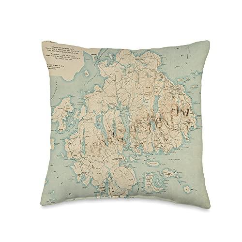 Arcadia National Park Maine Atlas Mount Desert Island Map Throw Pillow, 16x16, Multicolor