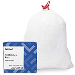Includes 120 tall kitchen garbage bags. Bag dimensions equal 24 inches wide by 27 3/8 inches tall, bag thickness equals .9 mil Each trash bag has a 13 gallon capacity White trash bag with red drawstring closure for easy tying and carrying Satisfactio...