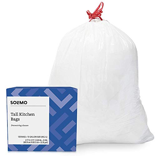 Amazon Brand - Solimo Tall Kitchen Drawstring Trash Bags, 13 Gallon, 120 Count