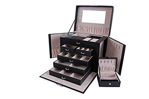 Asvert Schmuckkästchen abschließbar Schmuckkoffer mit spiegel und Mini Box Schmuckkasten mit 5 Schubladen Große Kapazität Schmuckschatulle PU Leder Schmucksachen, 26.5 * 23 * 19.8cm (Schwarz)