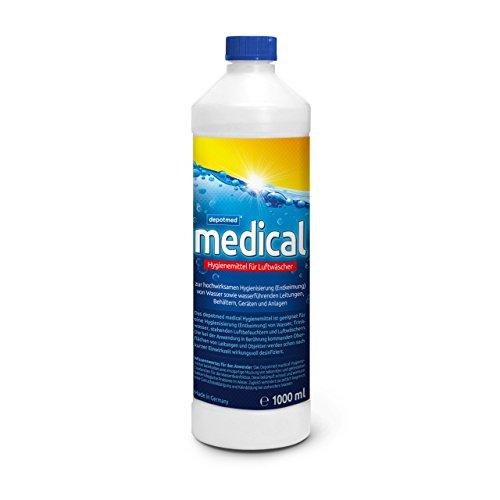 depotmed® medical Hygienemittel für Luftwäscher und Springbrunnen, Luftreiniger - geruchlos in der Anwendung- Aquafresh - 1 Liter, gegen Legionellen