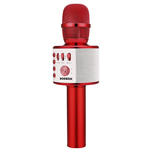 Image of the BONAOK Wireless Bluetooth Karaoke Microphone,3-in-1 Portable Handheld karaoke Mic Speaker Machine Christmas Birthday Home Party for Android/iPhone/PC or All Smartphone(Q37 Red)