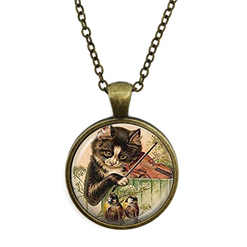 JEANCZ Silver Necklace Retro Cat Music Bird Playing Violin Animal Special Design Glass Cabochon Dome Jewelry