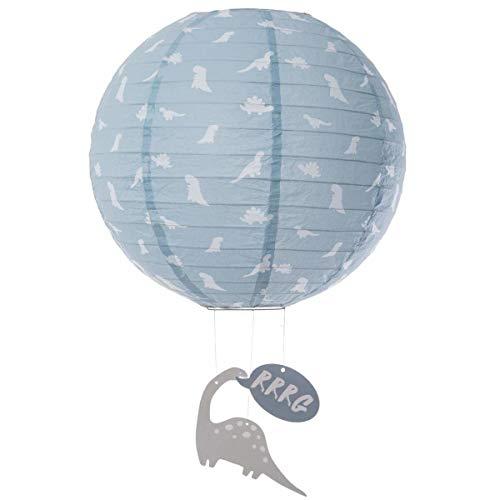 Lampenschirm Papier Laterne für Kinderzimmer Deckenleuchte Dinosaurier, blau-grau Durch.35cm groß