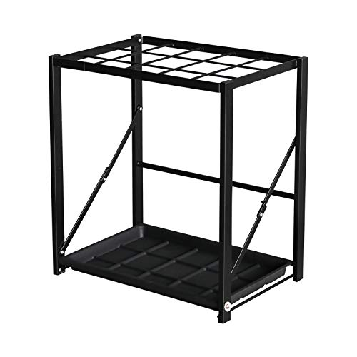 GL GLOBAL LIFE Folding Umbrella Storage Stand Rack Holder Organizer Free Standing Industrial Umbrella Rack for Entryway Home Commercial Office Hotel Entry Hallway Patio Décor with Removable Drip Tray