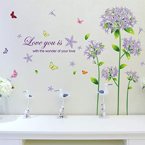 Huaduo Décor de Mode Love You Anglais Lettre Vinyle Bricolage Papillon Pourpre Pissenlit Sticker Mural Decal Mural Home Room Art Amovible