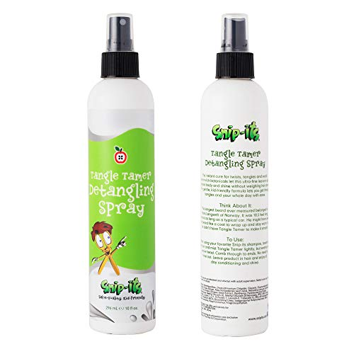 Snip-its Tangle Tamer Hair Detangler Spray for Kids 10oz | Leave-in Conditioner Spray – Curly or Straight - Anti-Static Formula - Made in USA, All-Natural Ingredients | Salon Quality. Kid Friendly.