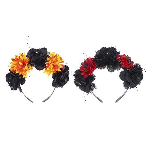 Diadema de Halloween, 2pcs mujeres accesorios para el cabello bandas premium para el cabello de Halloween para fiestas de Halloween