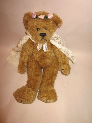 TY Attic Treasure 1993 Jointed 12' Bear with Rosebuds and Cape