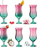 PLATINUX Juego de 6 vasos de cóctel de color rosa y turquesa, 400 ml (máx. 470 ml)