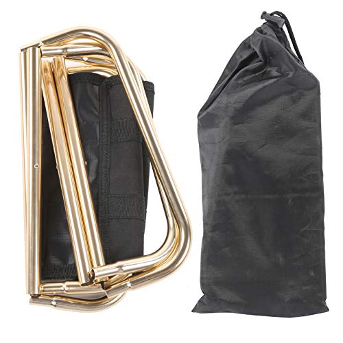 DAUERHAFT Material de aleación de Aluminio y Tela Oxford Silla de Pesca de tamaño pequeño Taburete de Camping Ligero con Bolsa de Almacenamiento Impermeable, Apto para Adultos(Golden)