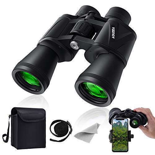 12 x 50 Prismáticos compactos, HD impermeables, binoculares, senderismo, caza, turismo, pequeños prismáticos para adultos y niños, lente FMC, bolsa de transporte y adaptador para smartphone,