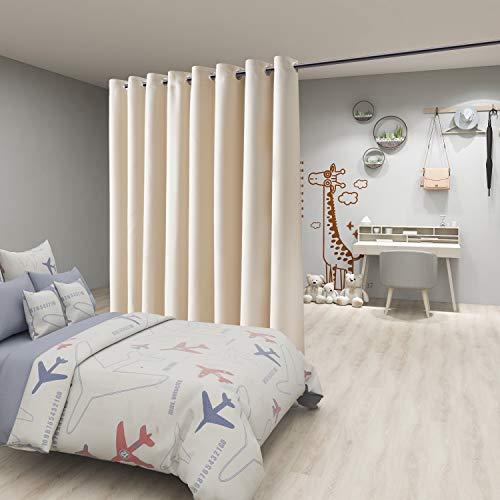 FLOWEROOM Raumteiler-Vorhang, 3 m breit x 2,4 m lang, beige - Verdunkelungsvorhänge für Schlafzimmer / Wohnzimmer / gemeinsame Büros, große Thermoösen, Sichtschutzvorhang für Schiebetür