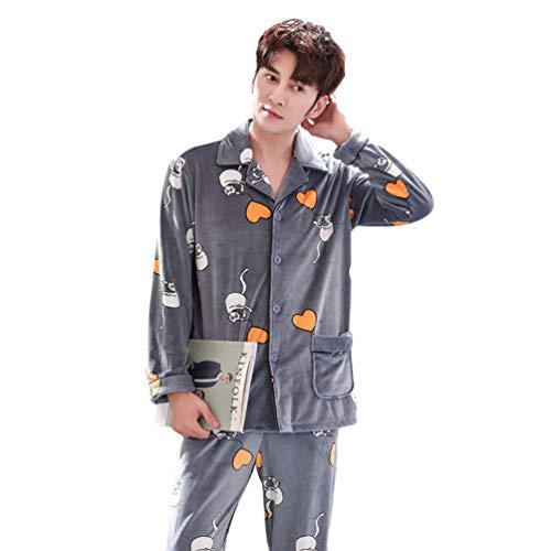 LaoZan Unisex Gedruckt Schlafanzüge Set 2 Stücke Warme Langarm Hausmantel Pyjama zum Knöpfen Flanell Synthetik (Grau#1(Männer), Asia 2XL)