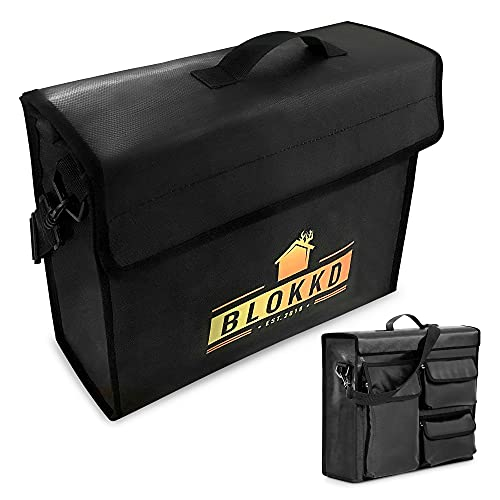 BLOKKD Fireproof Lock Box Bag for Documents | Fire Safe File Storage | Water Resistant Fire Proof Container for Documents, Money, Jewelry and Valuables - 13 x 16 x 5 inch
