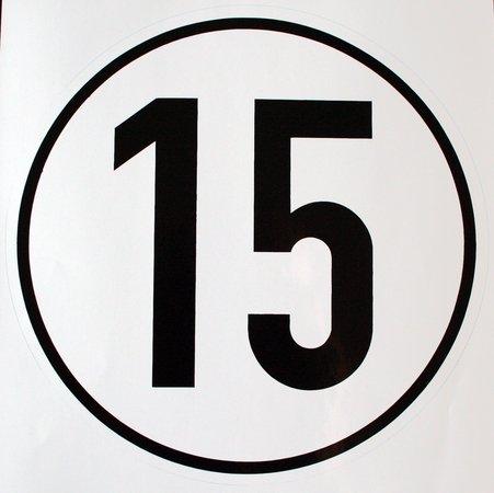 Geschwindigkeitsschild 15 km/h, Hinweisschild für Kraftfahrzeuge (zulässige Höchstgeschwindigkeit), ALU geprägt, Ø 200 mm, zur Anbringung an das Fahrzeug 15 km/h