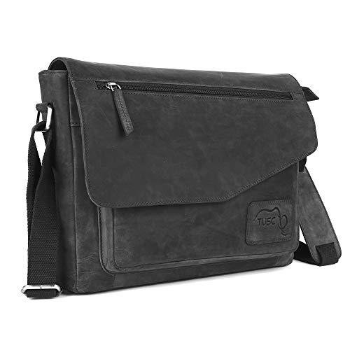 TUSC Triton grijze leren tas laptoptas 17 inch heren schoudertas aktetas schoudertas voor kantoor notebook messenger bag laptop iPad, grootte- 41x31x12 cm