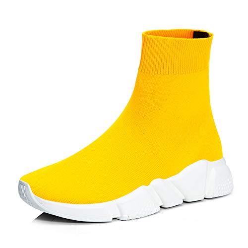 RoseG Herren Damen Mode Sliper Schuhe Unisex Leichte Atmungsaktive Sneakers Outdoor Turnschuhe Gelb Weiß Size37
