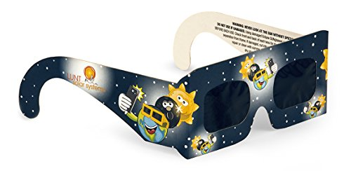 Lunt Solar Systems Premium Junior Size Eclipse Viewing Glasses, 4 Pack.