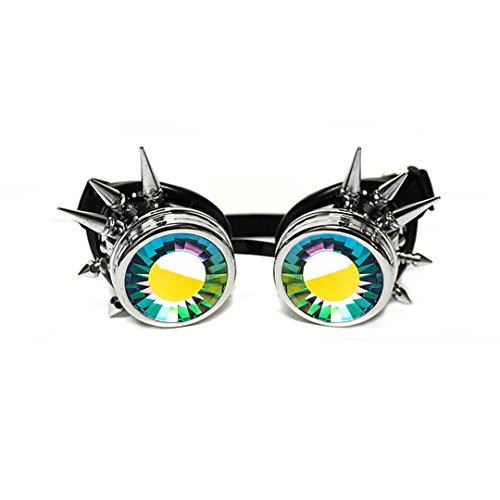 GloFX Herren gepolstert Kaleidoskop Brille - Wurmloch lens - verstellbarer Riemen - EDM- Rave 3D Prisma Regenbogenschweißen Cyber Punk Einheitsgröße Chrom Spitze