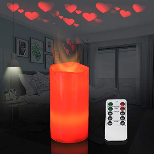 Flameless Candle Projector, LED Heart Projection Flameless Candle Night Light with Remote & Timer,Battery Operated Flickering Electric Candle for Christmas Wedding Valentine's Day