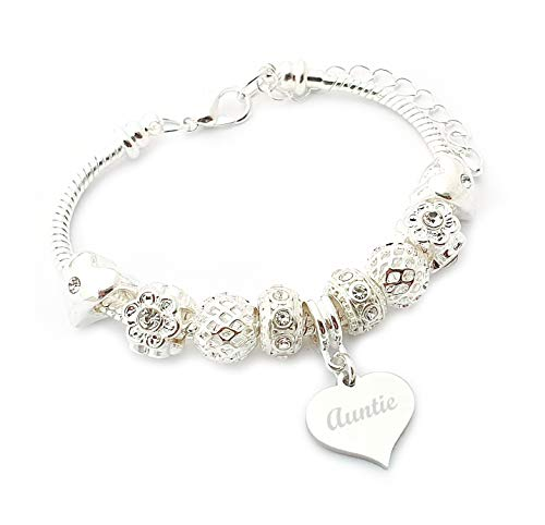 SanaBelle™ Auntie (Aunt, Aunty) Personalised Engraved Charm Bracelet Women's