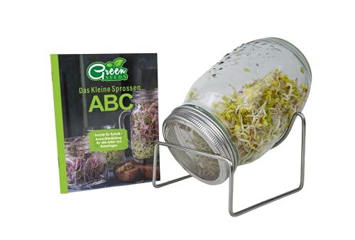Green SEEDS Sprossenglas Keimglas 1er Set 1000ml mit hochwertigem Edelstahl-Gitterdeckel, Ständer + GRATIS Sprossen-ABC [E-Book]