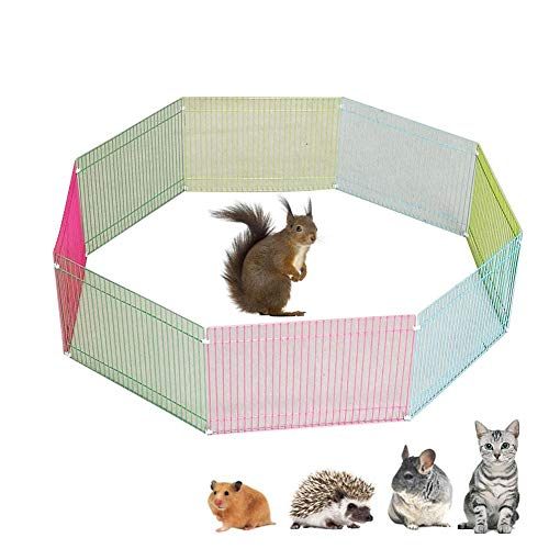 Buding Small Animals Playpen, DIY Pet Playpen Metal Wire Fence Indoor Outdoor Guinea Pig Rabbit Small Animals Cage 8-Panel