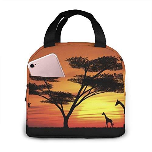 Fiambrera aislada impresa puesta del sol africana divertida para la capacidad de las mujeres, fiambrera reutilizable del bolso más fresco