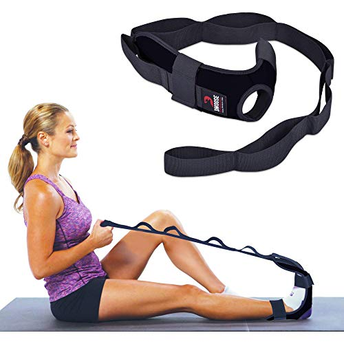 DMoose Fitness Foot and Leg Stretcher for Plantar Fasciitis, Improve Strength, Balance Stretches and Achilles Tendonitis, Stretch Loops for Hamstring, Quad, and Calf Pain Relief (Black)